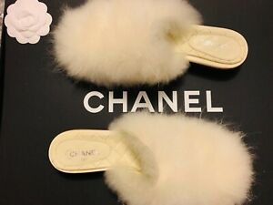 CHANEL Vintage Lambswool Slippers/Slides