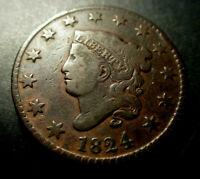 Large Cent  Coronet Head 1824  F