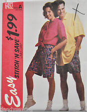 McCall's Sewing Pattern # 6492 Unisex Shirt and Shorts in 2 Lengths Sz XS-S-M