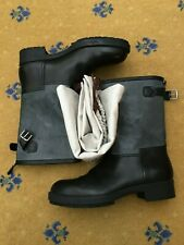 New Hermes Mens Shoes Black Leather Grey Jeep Boots UK 7 US 8 EU 41 Biker