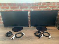 """Dual Lenovo T2254p LED  Monitors 22""""   HDMI   Display Port   LED   1680 X 1050"""
