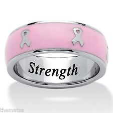 BREAST CANCER AWARENESS PINK RIBBON STAINLESS STEEL RING SIZE  5 6 7 8 9 10