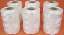 6 White Strong Nylon Sewing Thread Spools *Large 200meters Heavy Duty Spools