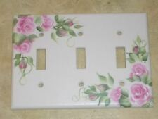 *hp Chic Shabby PINK ROSE Triple switch plate cover