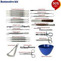Set von Chirurgisch Restaurativ Instrumente Verbund Bagger Carver Zahnpflege Lab