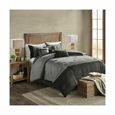 Madison Park Boone Cal King Size Bed Comforter Set Bed in A Bag - Grey, Textu.