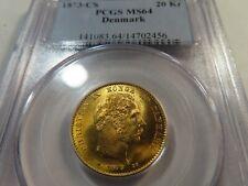 V17 Denmark 1873-CS GOLD 20 Kroner PCGS MS-64