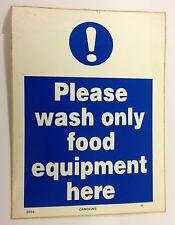 Si prega di lavare solo alimenti attrezzature qui segno RISTORAZIONE 200x150mm Vinile Autoadesivo
