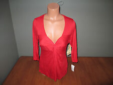 New Womens Size Medium M Live Let One World Solid Red Top Shirt Low Cut Stretch