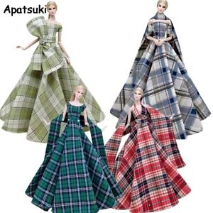 """Plaid Fashion Wedding Dress for 11.5"""" Doll Outfits 1/6 Accessories Clothes Gown"""
