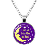 """Fashion Purple & Yellow """"Love you to the Moon and Back"""" Pendant Necklace N472"""