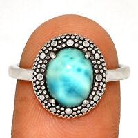 Genuine Larimar - Dominican Republic 925 Silver Ring Jewelry s.8 BR17828  XGB