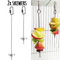 2x PREMIUM Parrot Fruit Skewer | Stainless Steel Bird Treat Spear Feeder