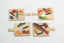 NEW Dolls House 4 x Chopping Boards With Fish & Vegetables - Free Delivery