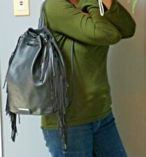 VICTORIAS SECRET Black Vegan Leather Fringe Backpack Hobo Handbag Hippie Boho Sl