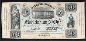 1837 $50 City of New Orleans, Promissory Note Remainder - LAC483