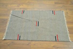 Handmade Carpet Rug Kilim Hand Knotted & Woven In India 100% Wool 150x90cm Grey