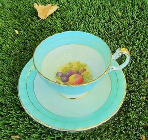Vintage Aynsley Orchard Fruit Sage Teacup & Saucer Set 28 # 2470 Signed D Jones