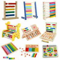 Math Wooden Counting Blocks Beads Abacus Kids Educational Learning DIY Toy Gifts
