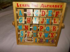Vintage Learn The Alphabet Wooden Easel Standing Toy Numbers Pictures