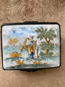 Antique 1700s French Trinket Box Porcelain Hand Painted Lady in Field with Lyre