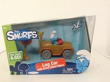 "The Smurfs-Log Car with Driver Smurf figure pull back & go ""FREE POST AUS WIDE"""