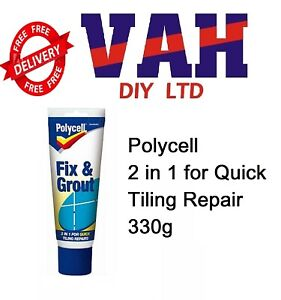Polycell Fix and Grout | White Waterproof 2 in 1 Broken Tile Repairs 330g Tube