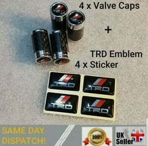 Carbon Fibre & Chrome tyre Valve Dust caps fits Toyota and other cars