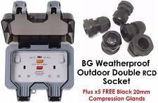 BG Weatherproof RCD IP66 Outdoor 13A Double Socket WP22RCD + FREE 20mm Glands