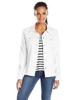 NYDJ Women's Denim Jacket W/ Fray Hem , White Size XS