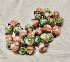 Swirl Mop Wired Beaded Necklace 50cm Long Vtg Art Deco Style Pretty Pink Green