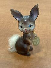 Vintage Enesco Japan Ceramic Ruthie The Furry Rabbit With Fur Tail Figurine