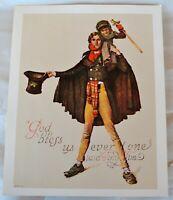 "VTG NOS Norman Rockwell Print Bob Cratchit & Tiny Tim ""God Bless Us Everyone"""