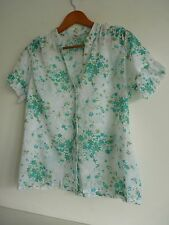 Ladies Lovely Klass Collection White & Blue Mix Floral Shirt Size 12, Vgc