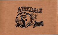 Airedale Always A Winner Cigar Box Label Unused   Tobacco Cat CBL3