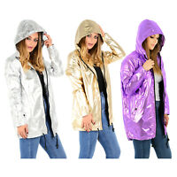 LADIES METALLIC RAIN MAC WATERPROOF RAINCOAT WOMENS FESTIVAL PARKA HOODED JACKET