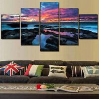 Charcoal Black Rocks Sea Sunset Nature 5 Panel Canvas Print Wall Art Home Decor