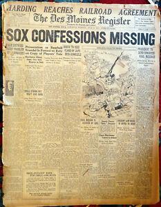 2  1921 BLACK SOX BASEBALL NEWSPAPERS DES MOINES REGISTER