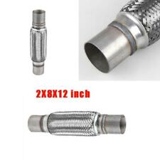 2X8X12 inch 52mm Car Auto Stainless Steel Exhaust Pipes Braided Flex Connector