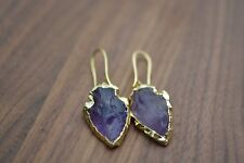 Natural Rough Raw Amethyst Earrings Gold Boho Druzy Geode Arrowhead Purple