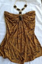 SKY BRAND BROWN SILK PRINT TOP w LARGE BROWN STONES GOLD CHAIN NECK Sz Small EUC