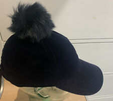 Tommy Hilfiger Girls Baseball Cap Navy Blue Velvet Hat 4-6 Nwt Faux Fur Pom Pom
