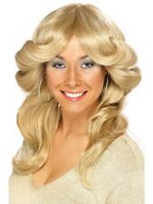 Blonde 1970's Disco Flick Wig Adult Womens Smiffys Fancy Dress Costume