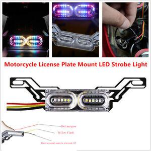 Motorcycle License Plate Frame Mount LED Strobe Light Tail Brake Running Lamp