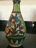 Beautiful 19th C. Antique Persian Empire Pottery Vase Hand Painted Stamped,MB222