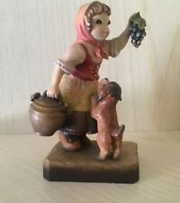 Anri Italy Wood Carving Girl With Dog And Grapes