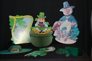 Vintage Cardboard Diecut St. Patrick's Day Decorations + 1 Honeycomb