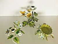 3 Vtg Italy Toleware Flower Candle Holder Metal Cottage Chic Shabby Floral Lot