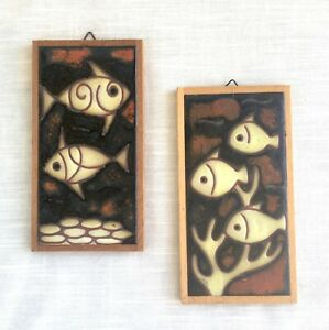 Vtg Pair MCM, E. Mixandidou Fish Pottery Tiles, Greek Artist Helen Michaelides