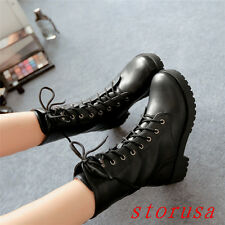 Punk Women Lady Front Lace Up Low Heel Mid Calf Boots Gothic Knight Boots Size